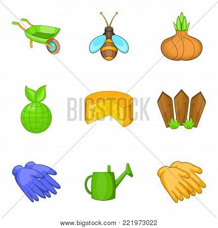 Harvest time icons set. Cartoon set of 9 harvest time vector icons for web isolated on white background