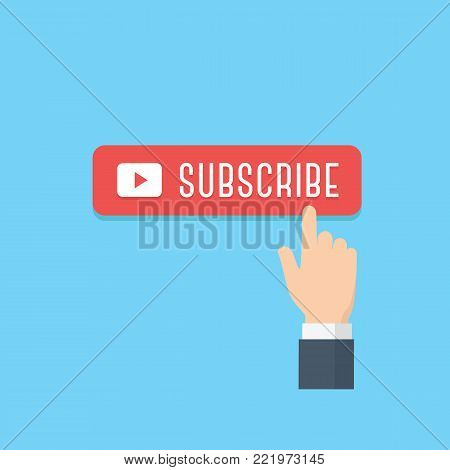 Hand pointing subscribe button illustration. Content updates for video streaming concept