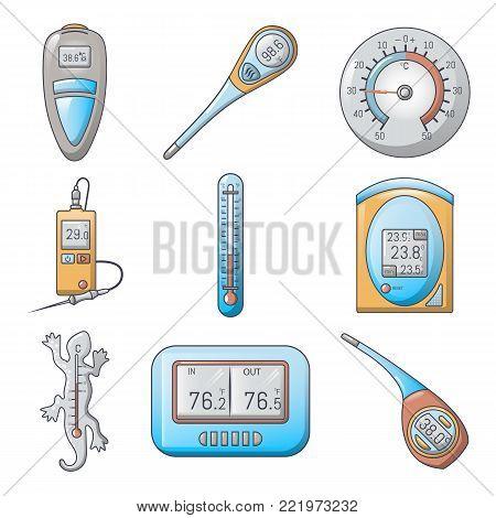 Thermometer indicators icons set. Cartoon illustration of 9 thermometer indicators vector icons for web