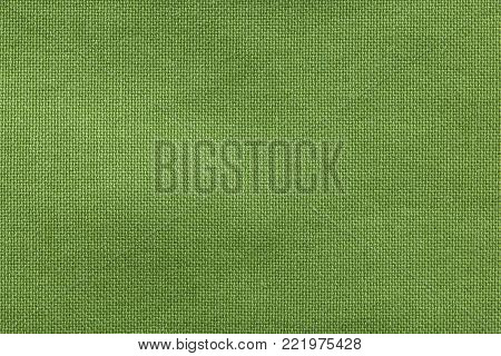 Textured background rough fabric of green olive color.