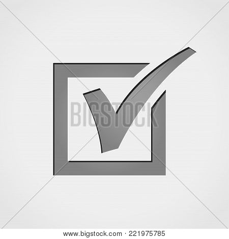 Illustration of checkmark grey icon concept design