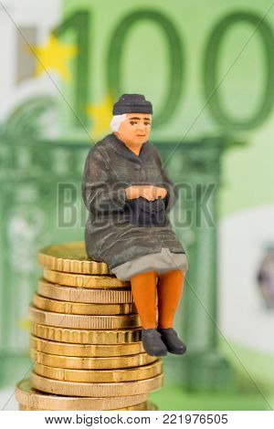 pensioner is sitting on money pile