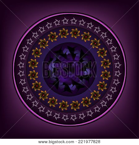 Round ornament with elaborate designs on a lilac background