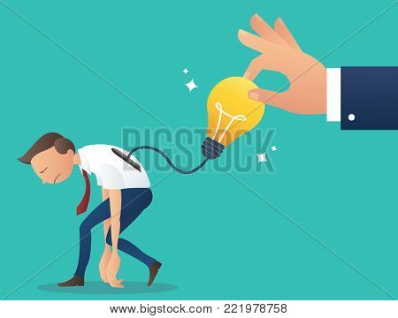 big hand trying to pick up light bulb, concept of steal work from colleague, plagiarism   vector illustration