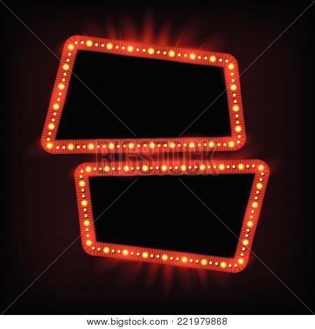 Retro Showtime 1950S Frame Design. Neon Lamps Advertising Billboard On Dark. Hollywood Sign, Casino
