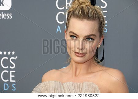 Margot Robbie at the 23rd Annual Critics' Choice Awards held at the Barker Hangar in Santa Monica, USA on January 11, 2018.