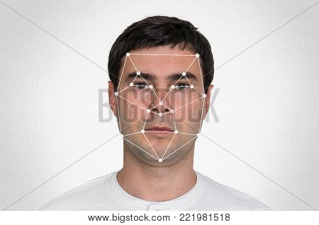 Man face recognition - biometric verification concept
