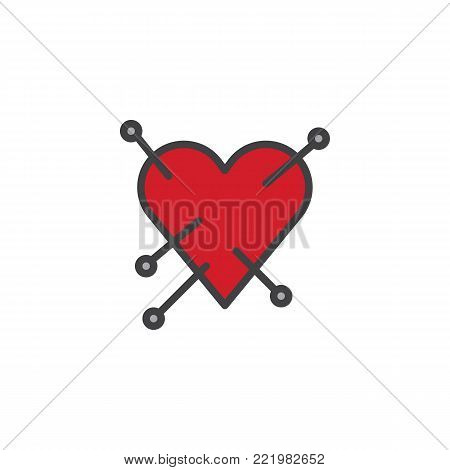 Heart with straight pin filled outline icon, line vector sign, linear colorful pictogram isolated on white. Love symbol, logo illustration. Pixel perfect vector graphics