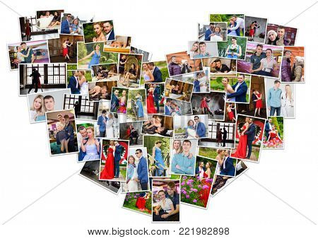 Collage with many happy beautiful couples on photos in heart shape (13 models)