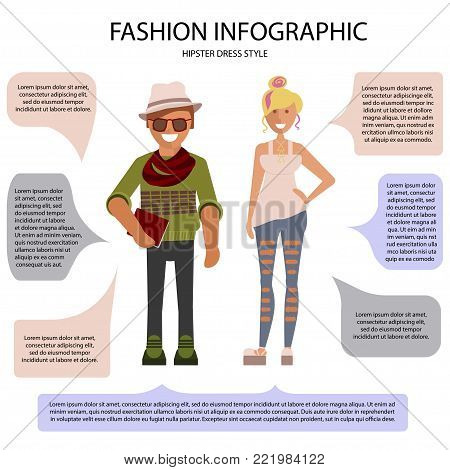 Hipster dress style infographic. Man and woman isolated on white background with speech bubbles. Vector illustration of people in formal clothes.