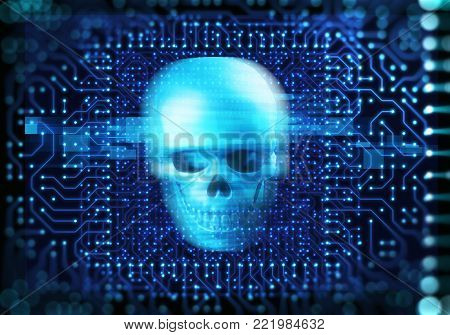 Blue Digital Cyber Skull And Cpu  3D Illustration