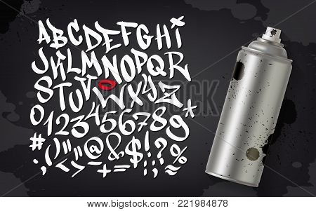 Hand written graffiti font alphabet. Vector graffiti alphabet on background with spray can and splats.