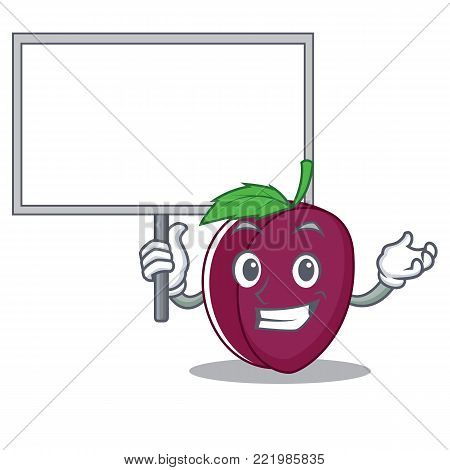 Bring board plum character cartoon style vector illustration