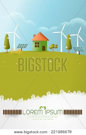 eco friendly house - solar energy, wind energy,Green energy ,urban landscape ,eco home renewable energy ecology,Vector texture style concept illustration.