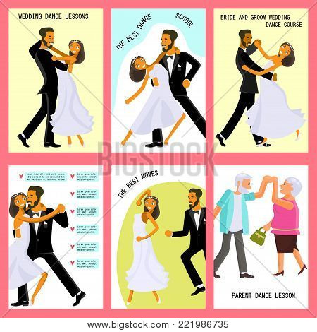 Set of flares with Happy young bride and groom are dance on their wedding day. Concept for the studio, wedding dance lessons. Vector illustration eps 10