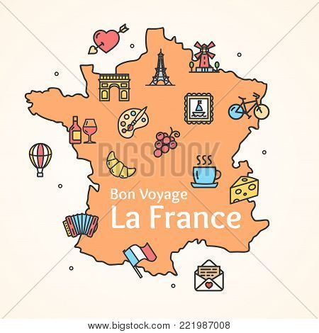 France Culture Design Template Line Icon Welcome Concept and Silhouette Map Geography French Travel National Tourism . Vector illustration
