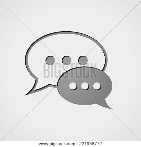 Illustration of speech bubble grey icon concept