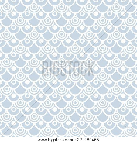 Seamless fish scale pattern. Circle shapes geometric texture. Vector art.