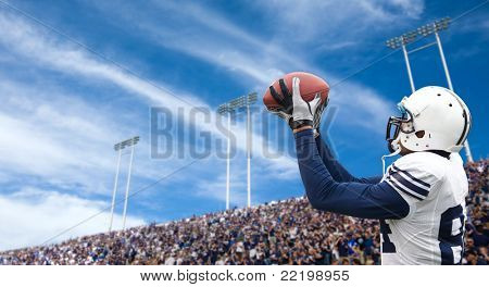 Football Player catching a touchdown pass poster