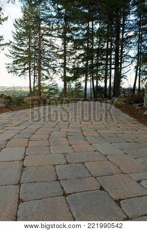 Garden Backyard brick stone concrete pavers walking path hardscape