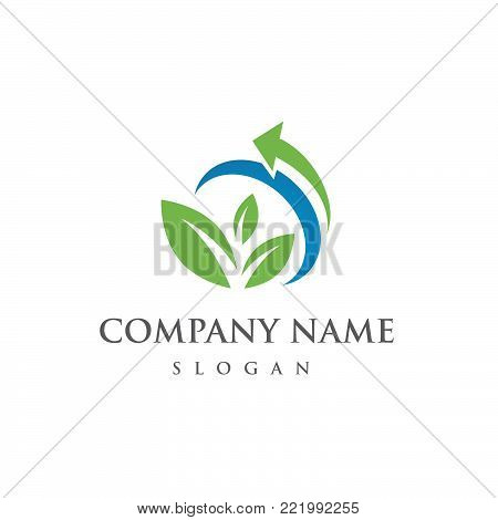 Ecology logo. Abstract eco green leaf and arrow symbol icon. Eco friendly concept for company logo bio and organic food. Vector