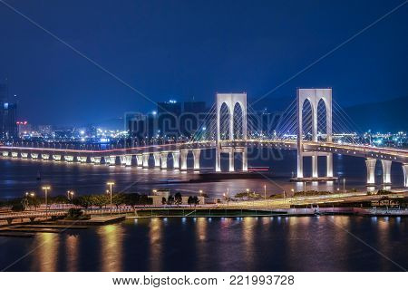 Beautiful view of Sai Van Bridge at night in Macau