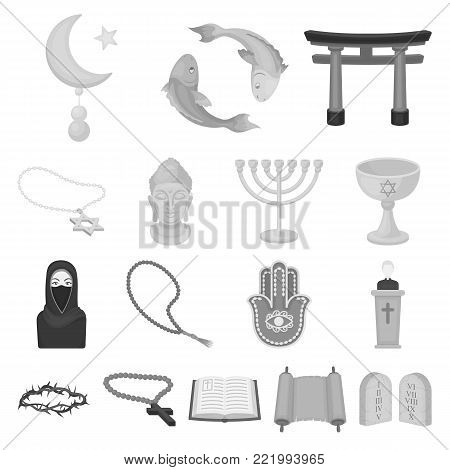 Religion and belief monochrome icons in set collection for design. Accessories, prayer vector symbol stock  illustration.