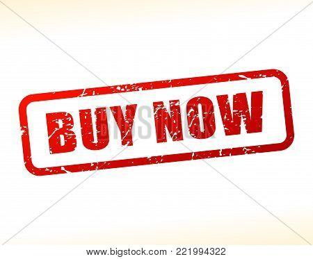 Illustration of buy now text buffered on white background