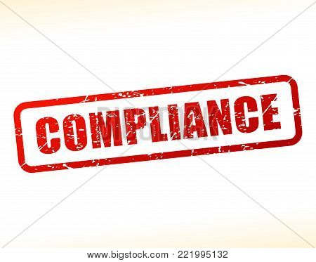 Illustration of compliance text buffered on white background