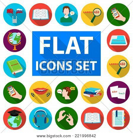 Translator and linguist flat icons in set collection for design. Interpreter vector symbol stock  illustration.