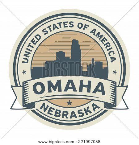 Stamp or label with name of Omaha, Nebraska, USA, vector illustration
