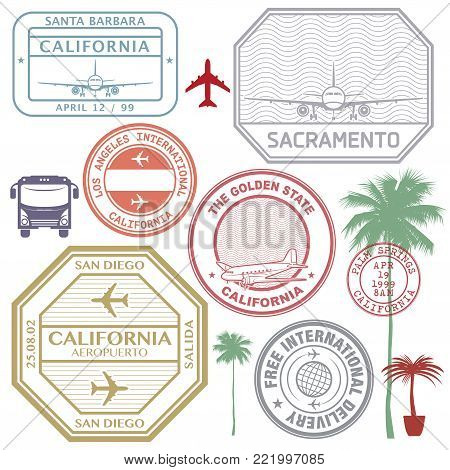 Retro postage USA airport stamps set California state theme, vector illustration
