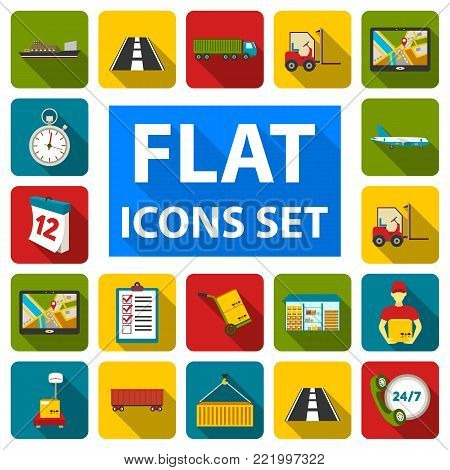 Logistics service flat icons in set collection for design. Logistics and equipment vector symbol stock  illustration.
