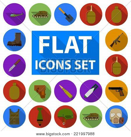 Army and armament flat icons in set collection for design. Weapons and equipment vector symbol stock  illustration.