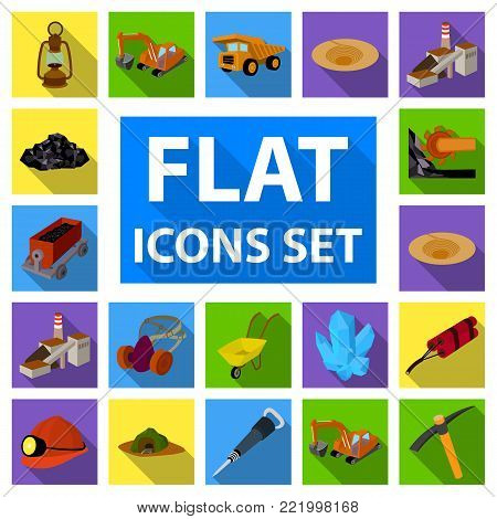 Mining industry flat icons in set collection for design. Equipment and tools vector symbol stock  illustration.