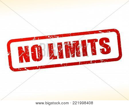 Illustration of no limits text buffered on white background