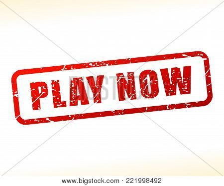 Illustration of play now text buffered on white background