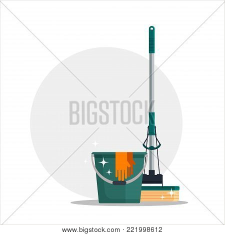 Cleaning service. Colorful set house cleaning tools with bucket, mop, glovers with place for your text. Detergent and disinfectant products, household equipment - flat vector illustration.