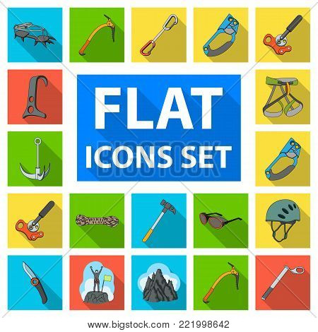 Mountaineering and climbing flat icons in set collection for design. Equipment and accessories vector symbol stock  illustration.