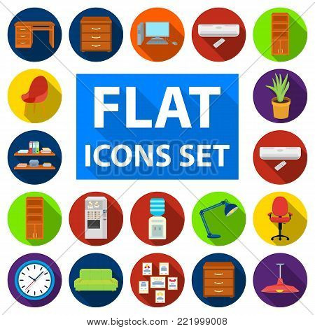 Interior of the workplace flat icons in set collection for design. Office furniture vector symbol stock  illustration.
