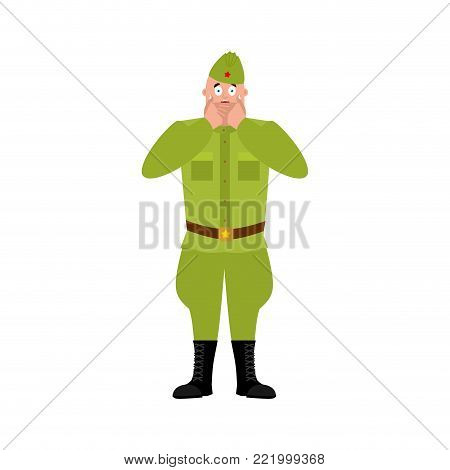 Soviet soldier scared OMG.  Retro Russian warrior  Oh my God emoji. Frightened Military in Russia. Illustration for 23 February. Defender of Fatherland Day. Army holiday for Russian Federation
