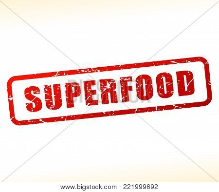 Illustration of superfood text buffered on white background