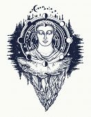 Buddha in deep space t-shirt design. Symbol of immortality, enlightenment, religion, magic. Space god. Sacred sign rebirth of the soul, Buddhism tattoo. Buddha face tattoo art poster
