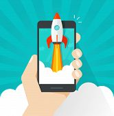 Startup vector concept, flat cartoon quick rocket or rocketship launch and mobile phone or smartphone, idea of successful business project start up, boost cellphone technology, innovation strategy poster