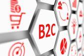 B2C concept cell blurred background 3d illustration poster