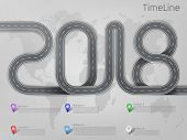 Vector company corporate 2018 car road milestone, timeline, business presentation layout, infographic strategic plan workflow with pointers marks, actions steps. Concept template illustration on grey poster