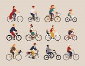 Collection of people riding bicycles of various types - city, bmx, hybrid, chopper, cruiser, single speed, fixed gear. Set of cartoon men, women and children on bikes. Colorful vector illustration poster