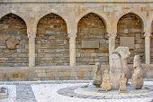 Archaeological exposition in old city, Baku, Azerbaijan poster