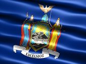 Computer generated illustration of the flag of the state of New York with silky appearance and waves poster
