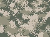 Digital pixel camouflage pattern. Military texture background. Khaki army camouflage poster